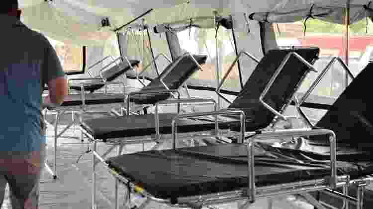 Interior do hospital de campanha de Bacabal, que deve começar a funcionar na semana que vem - Divulgação/Governo do Maranhão - Divulgação/Governo do Maranhão