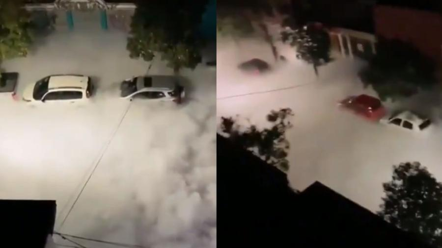 """Um vazamento em uma válvula de oxigênio hospitalar originou uma """"nuvem"""" nas ruas de San Miguel de Tucumán, na Argentina - Reprodução/Twitter/@AlertasTransito"""