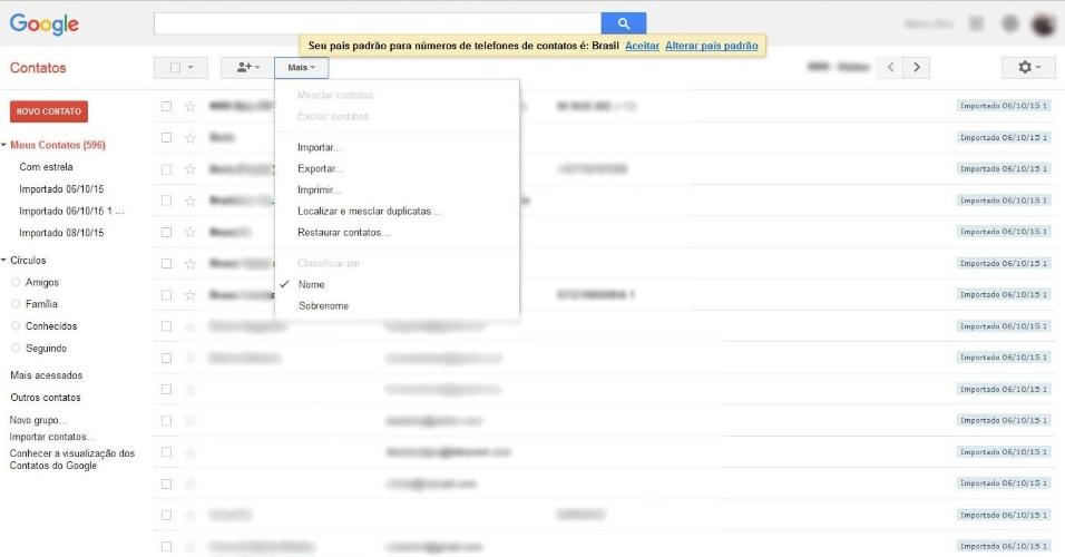 """De Android para iPhone - Passo 1: O processo é parecido com o de passar contatos de iPhone para o Android. Se o celular Android já tiver sincronização com a conta Google/Gmail, seus contatos já estão na nuvem. Dito isso, em um computador com internet, entre em https://www.google.com/contacts/u/0/?cplus=0, logue com sua conta Google, depois clique na opção """"Mais"""" (no alto da tela) e """"Exportar..."""""""