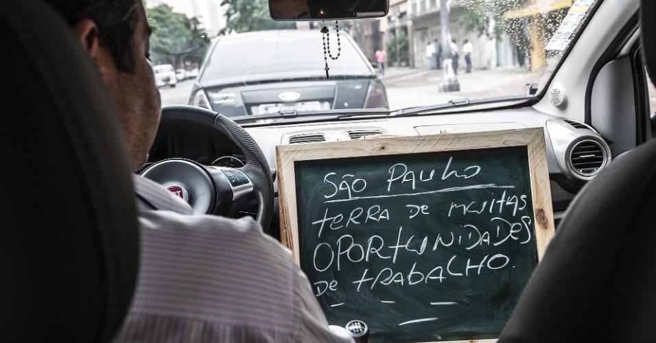 """""""O que me atrai em São Paulo são as oportunidades que a cidade oferece para todos que queiram trabalhar. São Paulo dá essa perspectiva para qualquer brasileiro ou estrangeiro que venha para cá. No táxi a gente tem problemas pontuais, mas no geral é muito bom""""."""