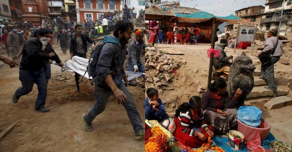 25.abr.2016 - Essa montagem mostra, à esquerda, moradores carregando vítimas de um deslizamento após o terremoto que atingiu Katmandu, no Nepal, em 25 de abril de 2015. À direta, vendedores comercializam flores na mesma rua, em 26 de fevereiro de 2016. Aos quatro minutos para o meio dia do dia 25 de abril do ano passado, há exatamente um ano, um terremoto de magnitude 7,8 devastou parte da nação himalaia. Outro tremor, ocorrido 17 dias mais tarde, castigou ainda mais a população. Mais de 9.000 pessoas morreram