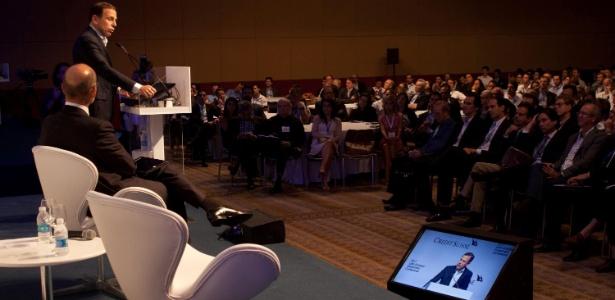 31.jan.2017 - Prefeito de São Paulo, João Doria (PSDB), ministra palestra durante evento para empresários em hotel da zona sul da cidade