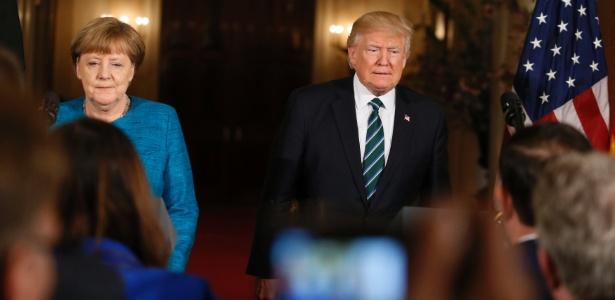 17.mar.2017 - Trump e Merkel durante entrevista coletiva na Casa Branca, em Washington