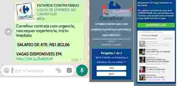 Telas do Golpe no WhatsApp que prejudicou 200 mil pessoas com vaga de emprego falsa no Carrefour - Reprodução