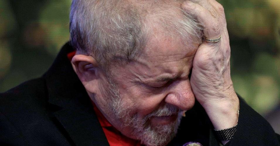 1º.jun.2017 - O ex-presidente Luiz Inácio Lula da Silva durante abertura do congresso do PT, em junho