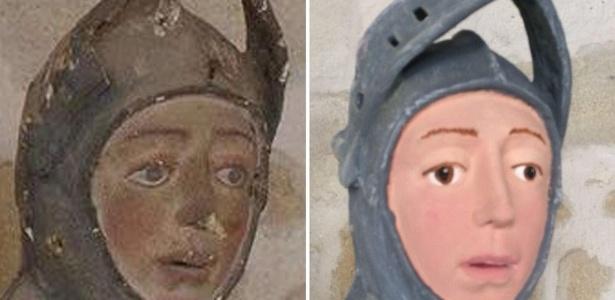 """Escultura de São Jorge antes e depois da restauração; objetivo era apenas """"arrumar um espaço que estava sujo"""" - Artus Restauración Patrimonio"""