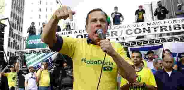 21.out.2018 - João Doria usou uma camiseta com a hashtag #BolsoDoria na campanha eleitoral de 2018 - Fábio Vieira/Estadão Conteúdo