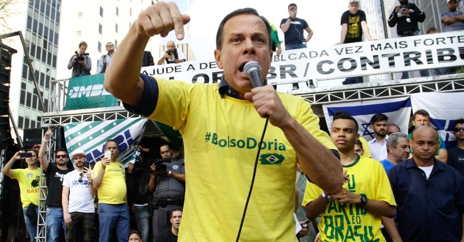 21.out.2018 - O candidato ao governo de São Paulo, João Dória participa do ato em apoio do presidenciável Jair Bolsonaro (PSL), na Avenida Paulista, na região centro-sul de São Paulo, neste domingo (21)