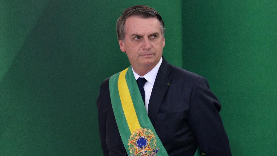 1.jan.2018 - O presidente eleito do Brasil, Jair Bolsonaro, toma posse no Palácio do Planalto em Brasília (DF), nesta terça-feira (1), junto com seu vice, o General Mourão - Renato Costa/FramePhoto/FOLHAPRESS
