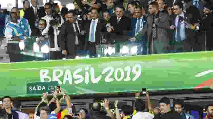 Presidente Jair Bolsonaro durante partida entre Brasil e Argentina no Mineirão, em Belo Horizonte - 02.jun.2019 - Anderson Lira/Brazil Photo Press/Folhapress