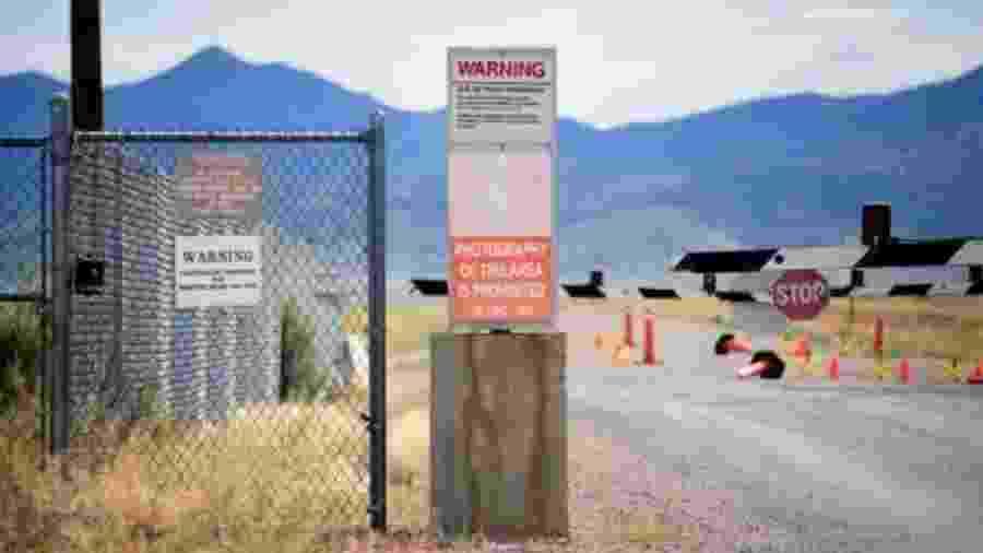 Entrada da Área 51, onde é prometida uma chegada massiva de pessoas - Reuters