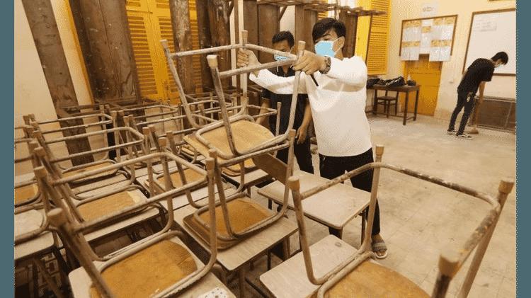 Escola sendo preparada para reabertura no Camboja após suspensão por pandemia - EPA - EPA