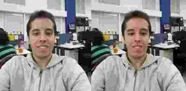 À esq., uma selfie com o A9; à dir. a mesma selfie editada com os recursos de embelezamento da Samsung - Gabriel Francisco Ribeiro/UOL