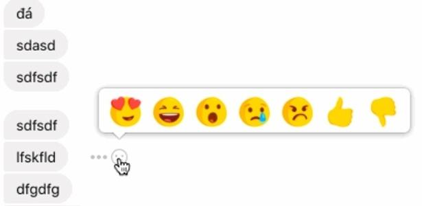 Imagem divulgada pelo site TechCrunch mostra possíveis reações às mensagens trocadas no Messenger do Facebook