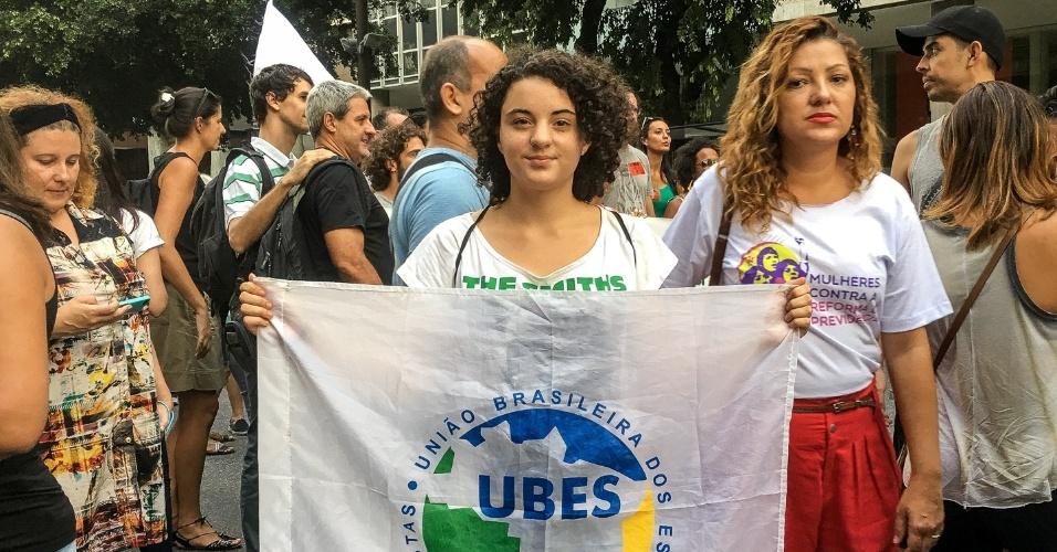 Estudantes secundaristas juntaram-se aos professores da rede pública e privada em ato contra reforma da Previdência, em março, no Rio
