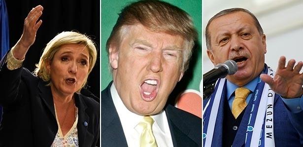 Marine Le Pen (esq.), candidata da extrema-direita que chegou ao segundo turno das eleições presidenciais da Franca; Donald Trump (centro), presidente dos EUA; e Recep Erdogan (dir.), presidente da Turquia associada à escalada autoritária no país