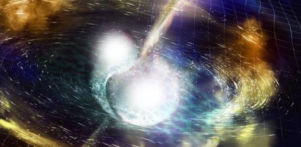 A fusão de duas estrelas de nêutrons, um dos fenômenos mais violentos do Universo, foi detectada pela primeira vez