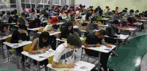 7.jan.2018 - Candidatos participam da segunda fase da Fuvest, na Escola Politécnica da Universidade de São Paulo (Poli-USP), na zona oeste da capital paulista - LUIZ CLÁUDIO BARBOSA/CÓDIGO19/ESTADÃO CONTEÚDO