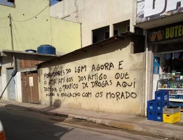 Pichação no bairro Lagomar, em Macaé, cidade do Norte Fluminense