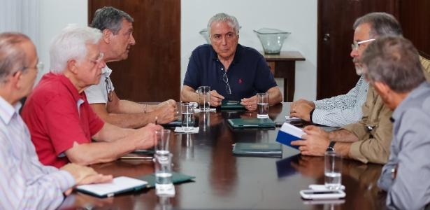 O presidente da República, Michel Temer (MDB), se reúne com aliados no Palácio do Jaburu, em Brasília
