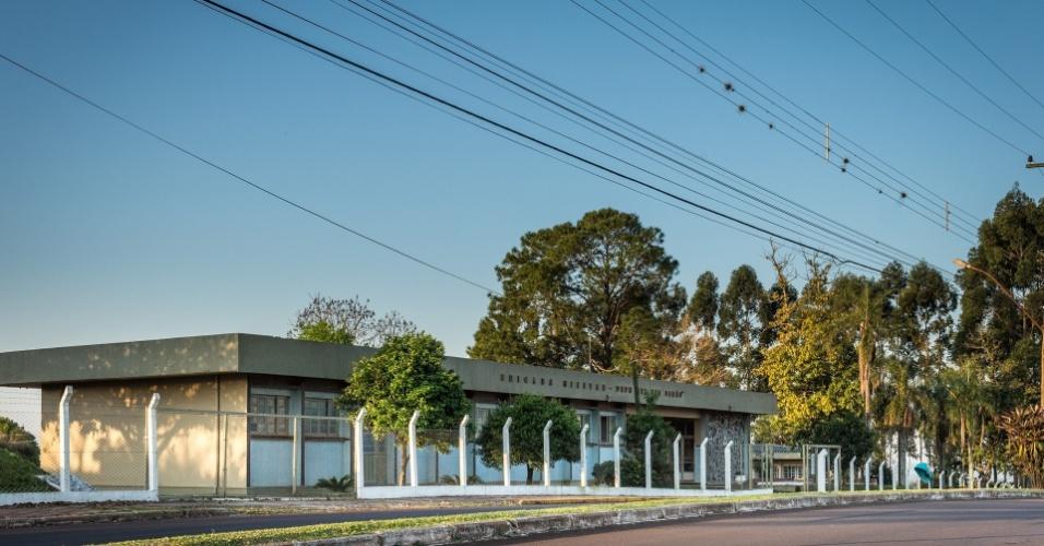 Nova sede do quartel do 7º BPM, que estava em obras em abril de 1970; terreno abrigou torturas dos presos da Sociedade Pesqueira em Três Passos (RS)