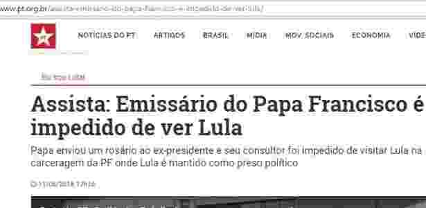 Site do PT noticia rosário como se fosse presente do papa - Reprodução - Reprodução