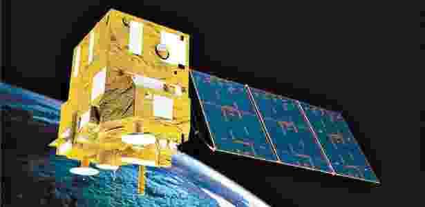 Concepção artística mostra o satélite Cbers 4 em órbita - Divulgação/Inpe