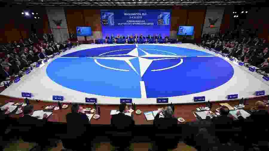 4.abr.2019 - Visão geral da reunião do Conselho do Atlântico Norte durante a cúpula dos Ministros dos Negócios Estrangeiros da OTAN no Departamento de Estado dos EUA, em Washington - Mandel Ngan/AFP