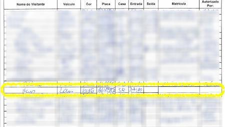 """Fac-símile do controle de acesso ao condomínio Vivendas da Barra mostra registro do nome """"Élcio"""", do carro """"Renault Logan, placa AGH-8202"""" e da casa número """"58"""", imóvel de Bolsonaro - Reprodução"""