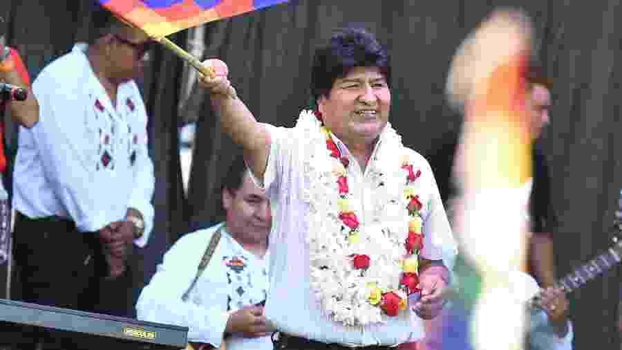 22.jan.2020 - Evo Morales, ex-presidente da Bolívia, participa de evento em Buenos Aires, na Argentina, para marcar fim de seu mandato - Alfredo Luna/Telam/Xinhua