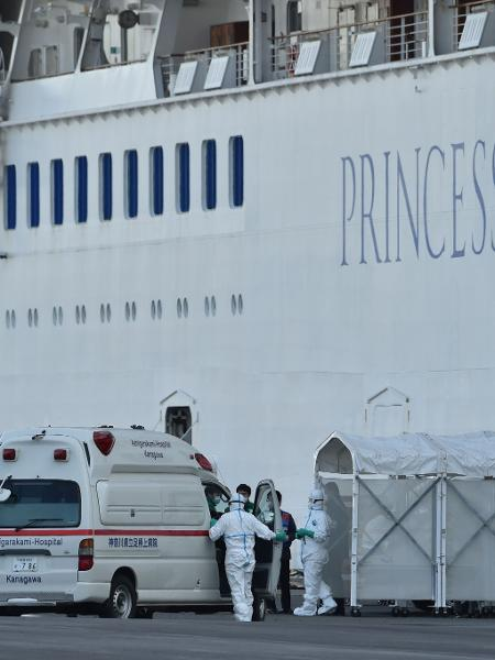 Cruzeiro Diamond Princess está em quarentena em Yokohama por causa do coronavírus  - Kazuhiro Nogi/AFP