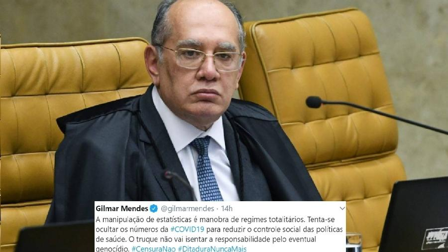 Gilmar Mendes, ministro do Supremo, e tuíte que reflete o absurdo. A desinformação mata. Como o totalitarismo. É inaceitável! - Foto: Carlos Moura/SCO/STF; Reprodução/Twitter