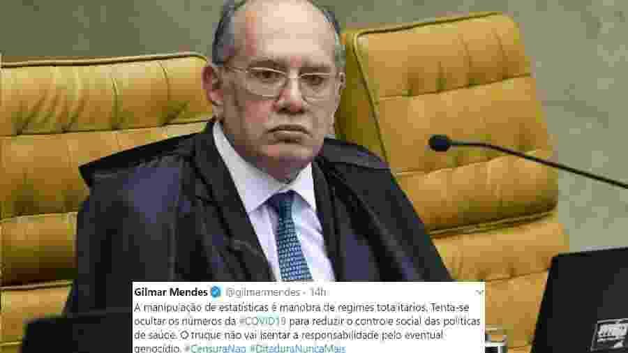 Gilmar Mendes atribuiu o crescimento do número de mortes por covid-19 à falta de coordenação de políticas públicas - Foto: Carlos Moura/SCO/STF; Reprodução/Twitter