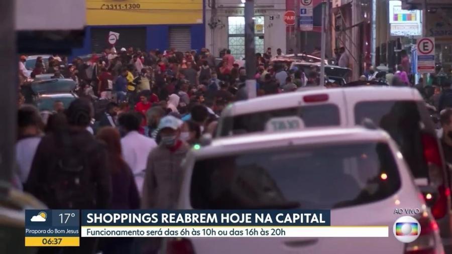 11/06/2020 - Movimentação na região da Rua 25 de março, em São Paulo - Reprodução/Globo