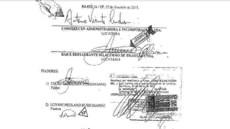 Assinatura de Russomanno em nome do bar (reconhecida em cartório) e repetição de sua assinatura e da mulher como fiadores - Reprodução - Reprodução