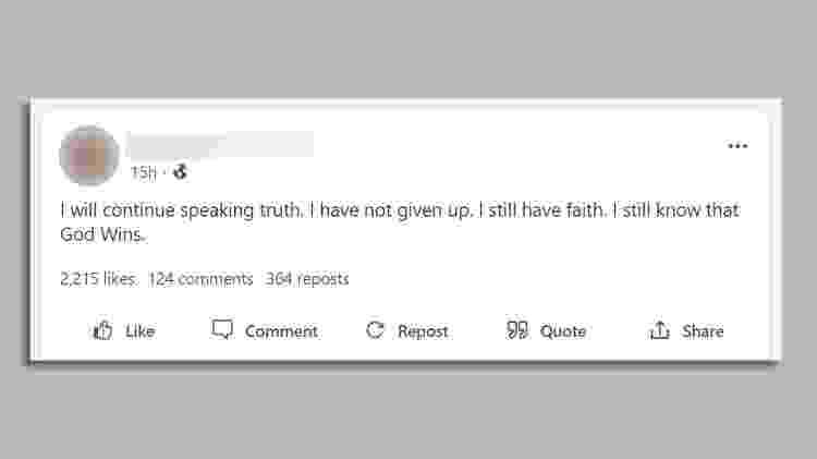 """""""Vou continuar falando a verdade. Não desisti. Ainda tenho fé. Ainda sei que Deus vence"""" - GAB - GAB"""