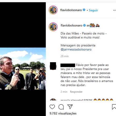 """""""Vou estar lá no meio deles agradecendo pelo trabalho que eles fizeram"""", afirmou o presidente - Reprodução/Instagram/@flaviobolsonaro"""