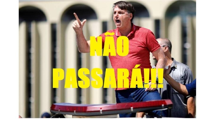 """Bolsonaro faz discurso golpista em frente ao QG do Exército, em Brasília, no dia 19 de abril de 2020. Era um ponto da escalada, que culminou com a articulação para um golpe no dia 7 de Setembro passado, que deu com os burros n""""água - Sérgio Lima/AFP; Montagem"""