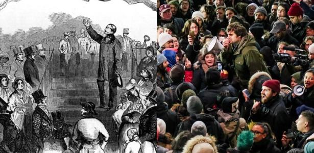 Encontro de grupo anti-escravidão (esq.) em 1851 e manifestantes durante protesto contra decreto sobre imigração de Donald Trump (dir.) no aeroporto de Nova York