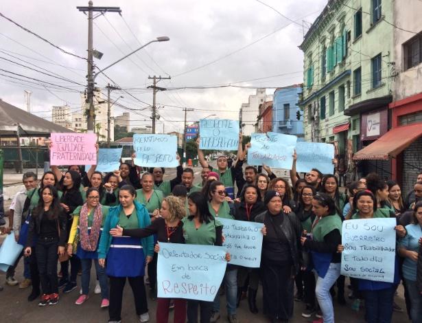 Protesto contra a truculência da PM e da GCM com funcionários que atendem usuários da cracolândia aconteceu na rua Helvétia, centro de SP