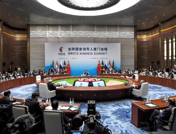 Sessão desta segunda-feira (4) da 9ª Cúpula do Brics, na China
