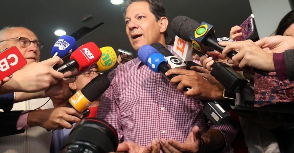Fernando Haddad concede entrevista no sindicato dos metalúrgicos em São Bernardo do Campo
