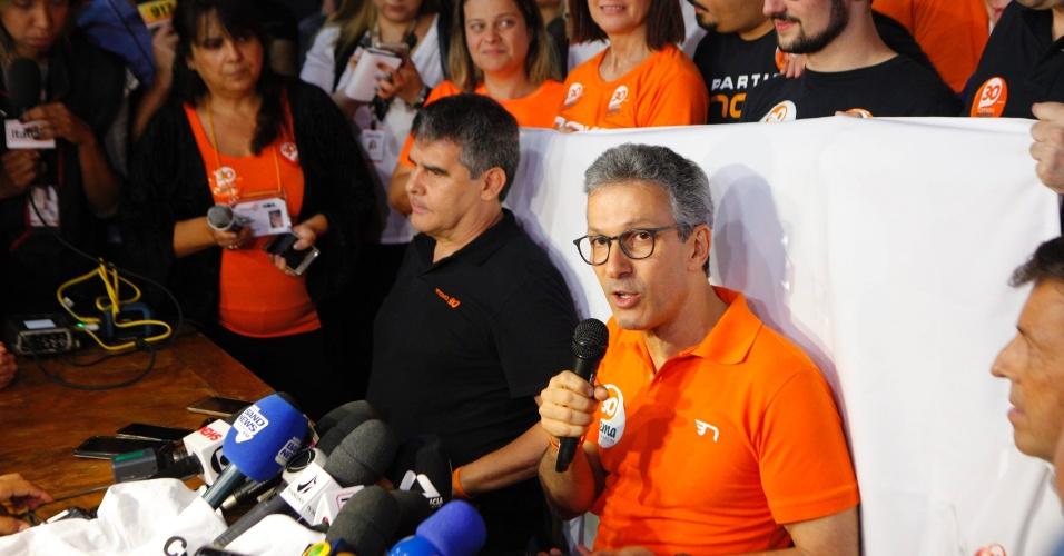 28.out.2018 - O governador eleito de Minas Gerais, Romeu Zema (NOVO) faz discurso após ser eleito com 71,80% dos votos, em Belo Horizonte