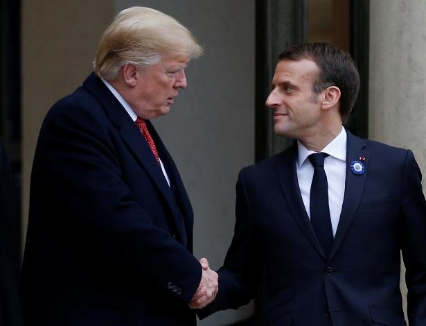 Presidente da França, Emmanuel Macron, e presidente dos EUA, Donald Trump