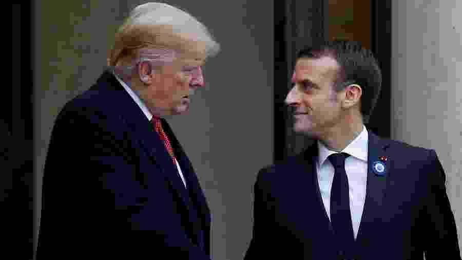 10.nov.2018 - Donald Trump, presidente dos EUA, encontra Emmanuel Macron, presidente da França - Vincent Kessler/Reuters