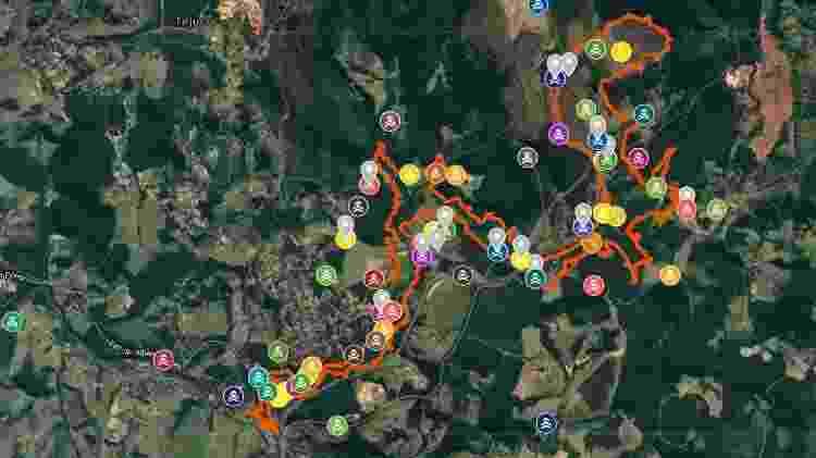 Mapa enviado pelo Ministério Público de Minas Gerais mostra a localização das vítimas de Brumadinho - Divulgação - Divulgação