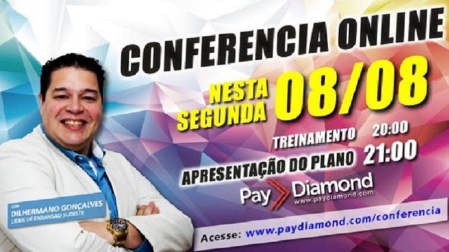 Dilhermano Pereira Gonçalves, em anúncio da Pay Diamond - Reprodução