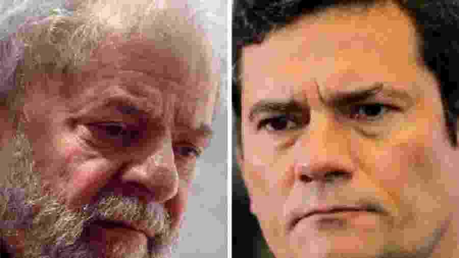 O ex-presidente Lula (à esquerda) foi investigado pela Polícia Federal a pedido de Sergio Moro. Despacho do ministro não citava Lei de Segurança Nacional, mas isso não o exime de responsabilidade em ato absurdo - Miguel Schincariol/AFP e Sérgio Lima/AFP