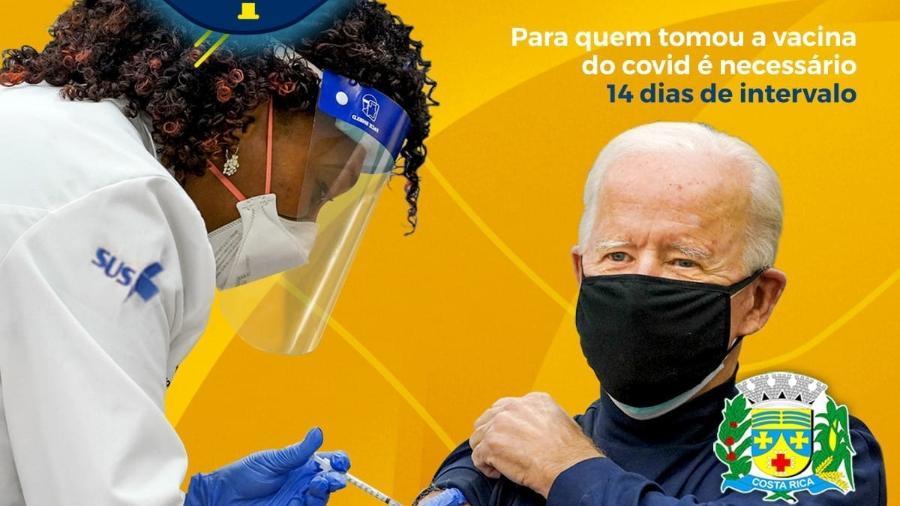 "Prefeitura de Costa Rica ""vacinou"" Biden para lembrar sobre a importância de tomar tanto a vacina contra a covid-19 como contra a gripe - Reprodução/Facebook"
