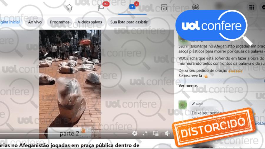 """30.ago.2021 - Post mostra vídeo de protesto na Colômbia como se fossem de """"missionárias"""" atacadas no Afeganistão - Arte sobre reprodução/Facebook"""